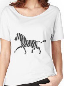 Zebra Black and Light Gray Print Women's Relaxed Fit T-Shirt
