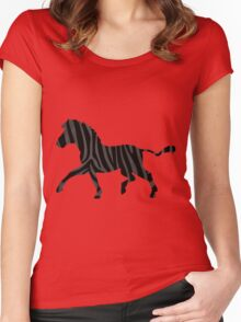 Zebra Black and Gray Print Women's Fitted Scoop T-Shirt