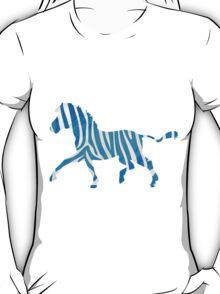 Zebra Blue and White Print T-Shirt