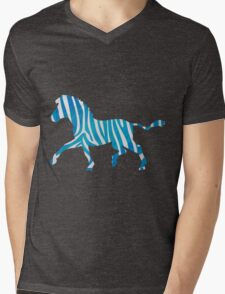 Zebra Blue and White Print Mens V-Neck T-Shirt