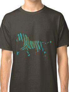 Zebra Brown and Teal Print Classic T-Shirt