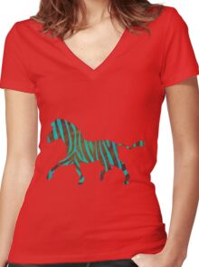 Zebra Brown and Teal Print Women's Fitted V-Neck T-Shirt