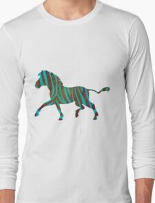 Zebra Brown and Teal Print Long Sleeve T-Shirt