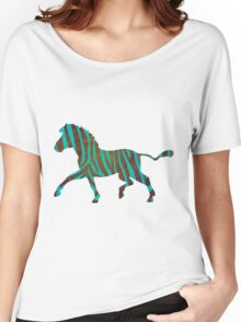 Zebra Brown and Teal Print Women's Relaxed Fit T-Shirt