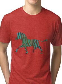 Zebra Brown and Teal Print Tri-blend T-Shirt
