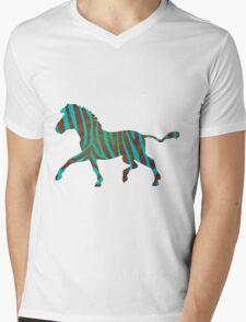 Zebra Brown and Teal Print Mens V-Neck T-Shirt