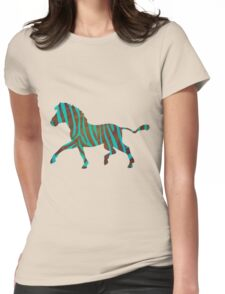 Zebra Brown and Teal Print Womens Fitted T-Shirt