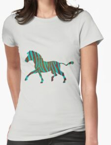 Zebra Brown and Teal Print T-Shirt