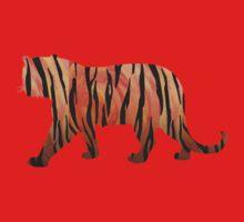 Tiger Hot orange and Black Print One Piece - Short Sleeve