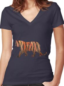 Tiger Hot orange and Black Print Women's Fitted V-Neck T-Shirt