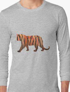Tiger Hot orange and Black Print Long Sleeve T-Shirt