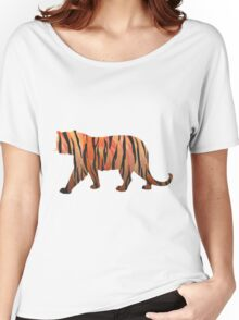 Tiger Hot orange and Black Print Women's Relaxed Fit T-Shirt
