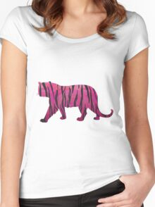 Tiger Hot Pink and Black Print Women's Fitted Scoop T-Shirt