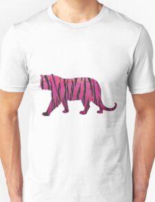 Tiger Hot Pink and Black Print Unisex T-Shirt