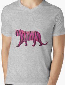 Tiger Hot Pink and Black Print Mens V-Neck T-Shirt