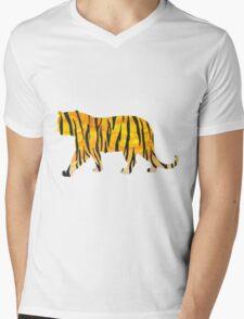 Tiger Black and Orange Print Mens V-Neck T-Shirt