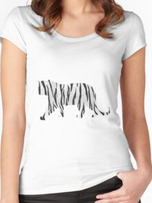 Tiger Black and White Print Women's Fitted Scoop T-Shirt