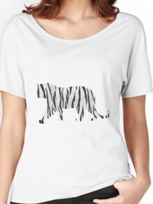 Tiger Black and White Print Women's Relaxed Fit T-Shirt