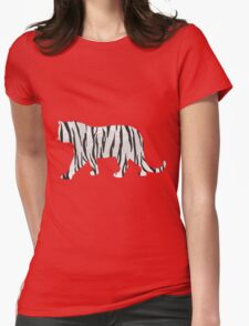 Tiger Black and White Print Womens Fitted T-Shirt