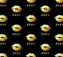 Gold Lips XOXO Hugs and kisses (Black) by scottorz