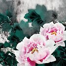 Vintage Water Lily Flowers - Chinese Painting Art by scottorz