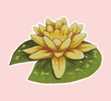 Cute Yellow Lily Pad One Piece - Short Sleeve
