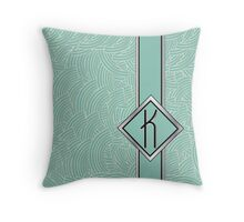 1920s Blue Deco Swing with Monogram letter K Throw Pillow