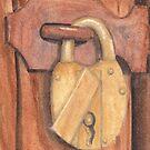 Brass Lock on Wooden Door by Ken Powers