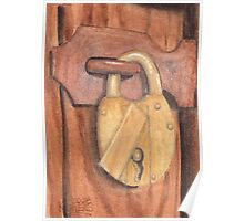 Brass Lock on Wooden Door Poster
