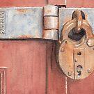 Red Door and Old Lock by Ken Powers
