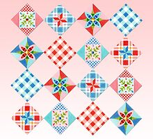 Country Days Patchwork on Pink by PatriciaSheaArt
