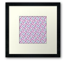 Teal Blue and Pink Abstract Floral Watercolor Framed Print