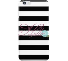 Modern Chic Bold Stripes Floral Hello iPhone Case/Skin