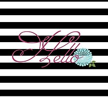 Modern Chic Bold Stripes Floral Hello by DoucetteDesigns