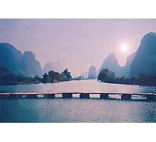 Wooden foot bridge in China Photographic Print
