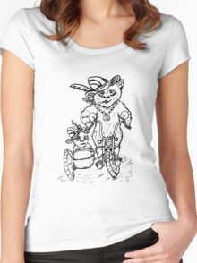 Panda on Motorcycle Sketch Women's Fitted Scoop T-Shirt