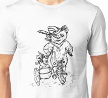 Panda on Motorcycle Sketch Unisex T-Shirt