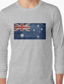 The National flag of Australia, retro textured version (authentic scale 1:2) Long Sleeve T-Shirt