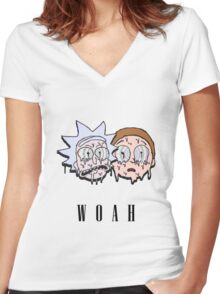 Reck n Melty - Fanmade Rick and Morty Design Women's Fitted V-Neck T-Shirt