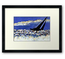 Catching the Wind, Sailboat in the Ocean at Sunset Framed Print