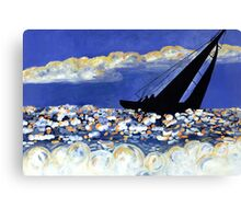 Catching the Wind, Sailboat in the Ocean at Sunset Canvas Print