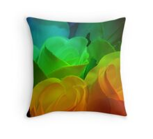 Rows of Rainbow Roses Throw Pillow