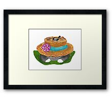 Garden Hat Cat Nap with a Chickadee Framed Print