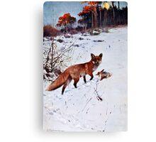 Red Fox Hunting Art Canvas Print
