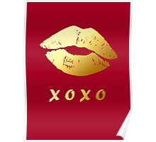 XOXO Hugs Kisses and Gold Lips (Hot Red) Poster