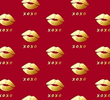 XOXO Hugs Kisses and Gold Lips (Hot Red) by scottorz