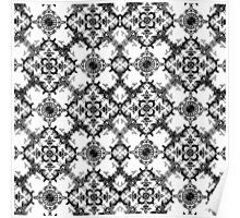 Black and White Decorative Damask Pattern Poster
