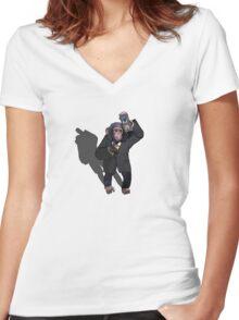 Halt ! Monkey Business Women's Fitted V-Neck T-Shirt