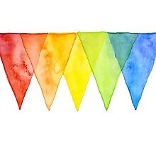 Abstract Triangles Geometric Shapes Watercolor Rainbow by OlechkaDesign