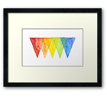 Abstract Triangles Geometric Shapes Watercolor Rainbow Framed Print